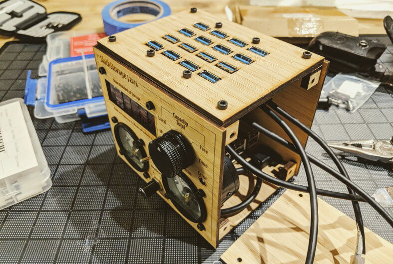 sloth-storage case and controls assembled